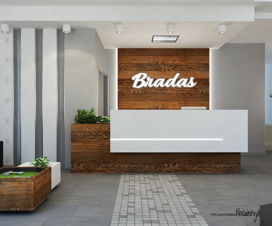 Projekt wnętrza recepcji dla firmy Bradas - projekty wnętrz lokali użytkowych Kluczbork Olesno Opolskie