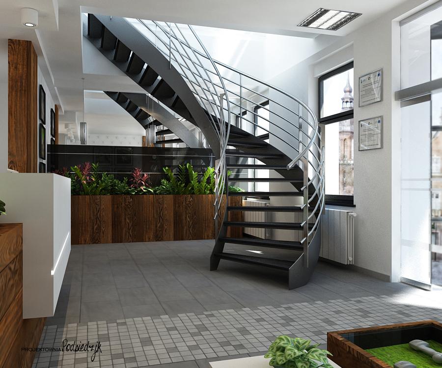 Projekt wnętrza recepcji dla firmy Bradas - projektowanie wnętrz punktów usługowych Kluczbork Olesno Opolskie