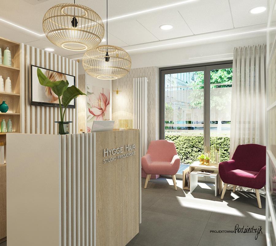 Projekt wnętrza salonu fryzjerskiego HYGGE HAIR - projekty wnętrz lokali użytkowych Kluczbork Olesno Opolskie
