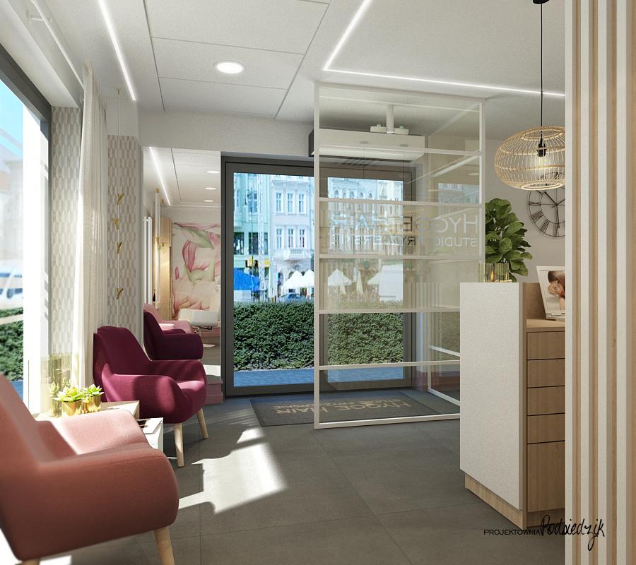 Projekt wnętrza salonu fryzjerskiego HYGGE HAIR - projektowanie wnętrz punktów usługowych Kluczbork Olesno Opolskie
