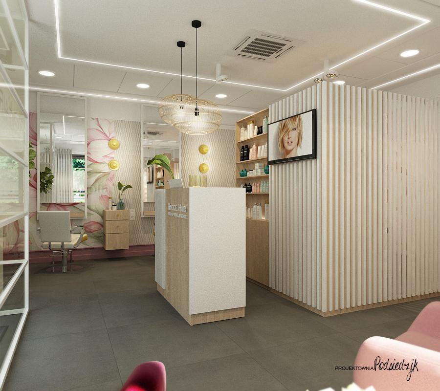 Projekt wnętrza salonu fryzjerskiego HYGGE HAIR - projektowanie wnętrz publicznych, komercyjnych Kluczbork Olesno Opolskie