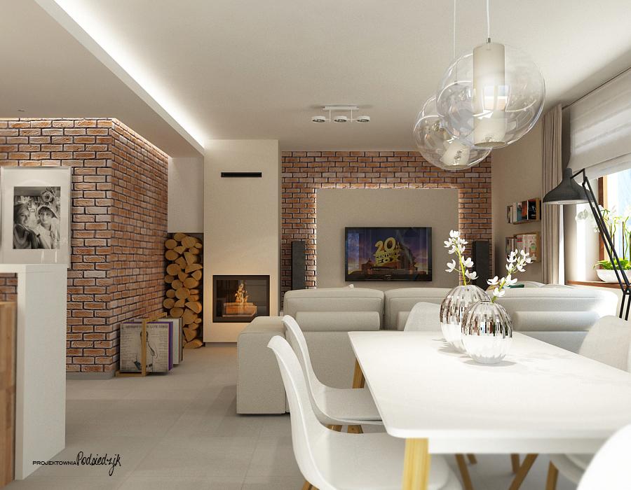 Dekorator wnętrz Kluczbork Olesno Opolskie - projekt wnętrza salonu z kuchnią