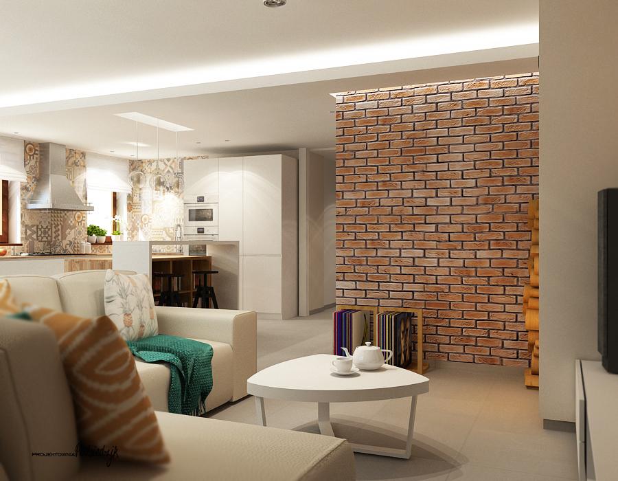 Architekt wnętrz Kluczbork Olesno Opolskie - projekt wnętrza salonu z kuchnią
