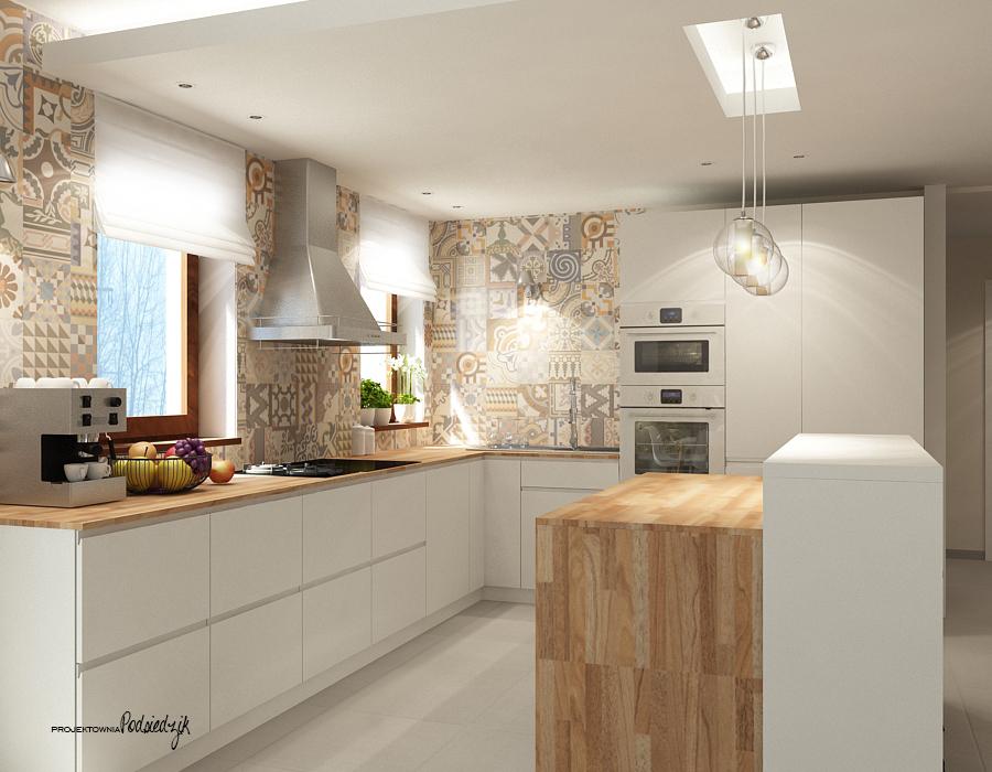 Projektowanie wnętrz Kluczbork Olesno Opolskie - projekt wnętrza salonu z kuchnią