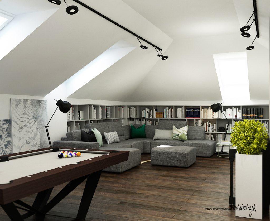 Projektant wnętrz Olesno - relax room poddasze telewizyjny ze stołem billardowym na poddaszu Olesno