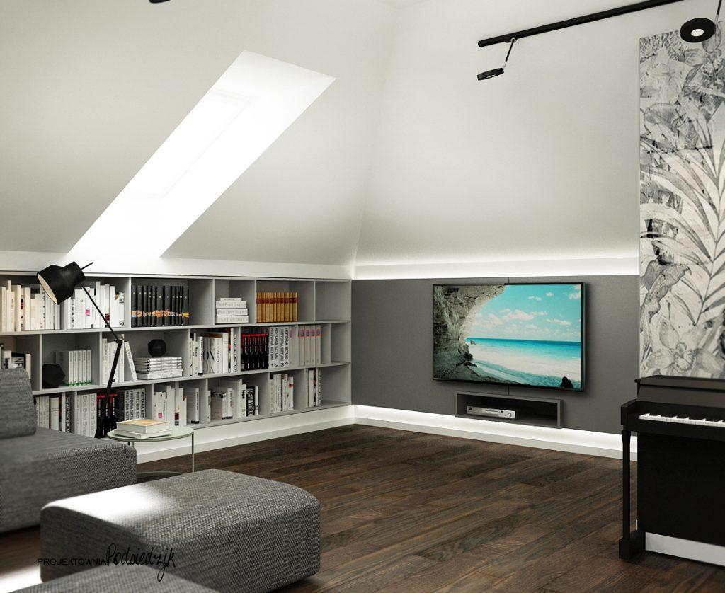 Projekty wnętrz pokoi domów Olesno Kluczbork Opolskie - relax room poddasze telewizyjny ze stołem billardowym na poddaszu Olesno