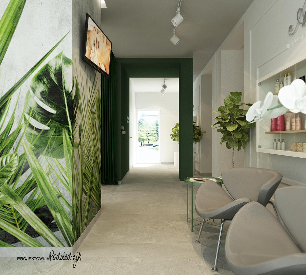 Projekt wnętrza poczekalni salonu kosmetycznego Ujazd - projekty wnętrz publicznych Kluczbork
