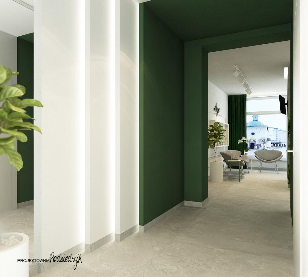 Projekt wnętrza poczekalni salonu kosmetycznego Ujazd - projektowanie wnętrz publicznych, komercyjnych Kluczbork Opolskie