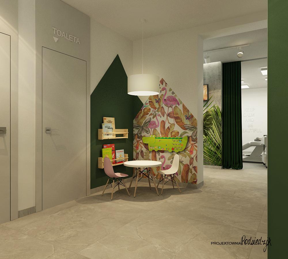 Projekt wnętrza spoczekalni z kącikiem dla dzieci salonu kosmetycznego Ujazd - projektowanie wnętrz punktów usługowych Kluczbork Opolskie