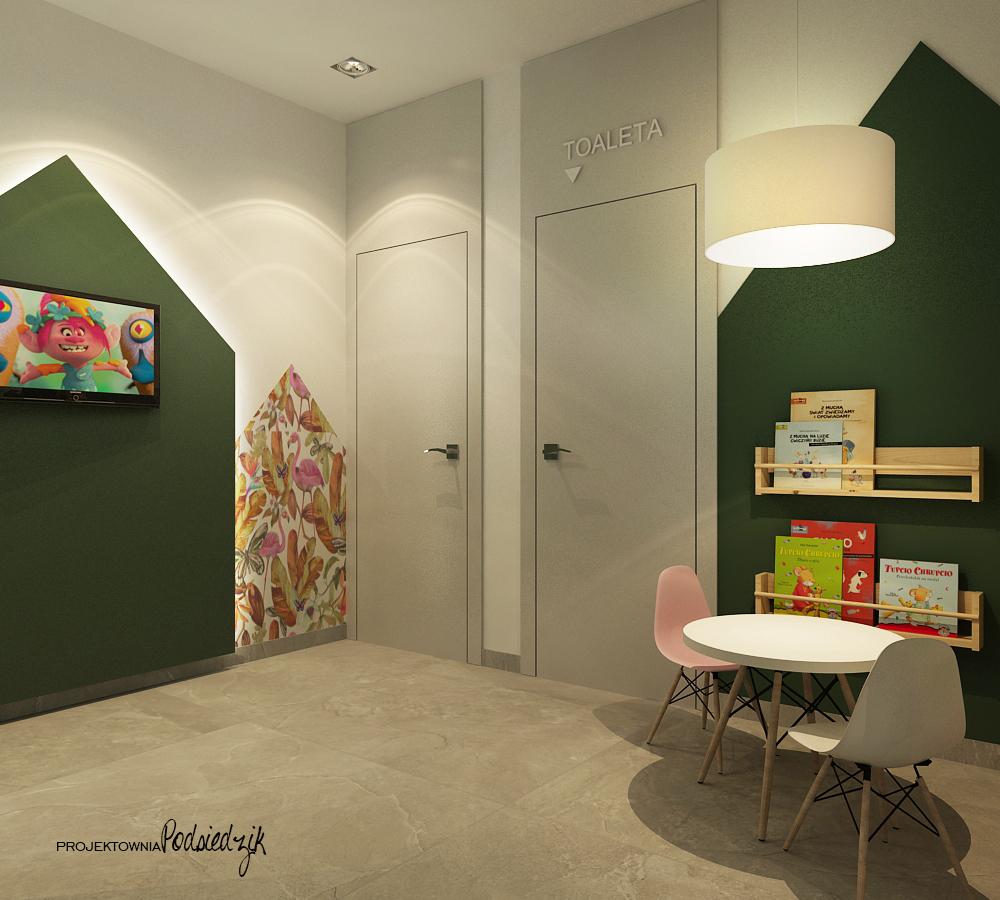 Projekt wnętrza poczekalni z kącikiem dla dzieci salonu kosmetycznego Ujazd - projektowanie wnętrz publicznych, komercyjnych Kluczbork Opolskie