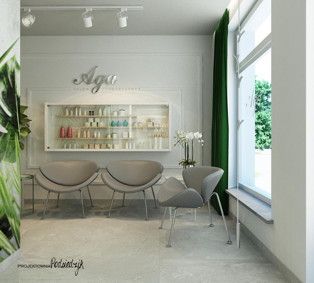 Projekt wnętrza recepcji i poczekalni salonu kosmetycznego Ujazd - projekty wnętrz publicznych Kluczbork
