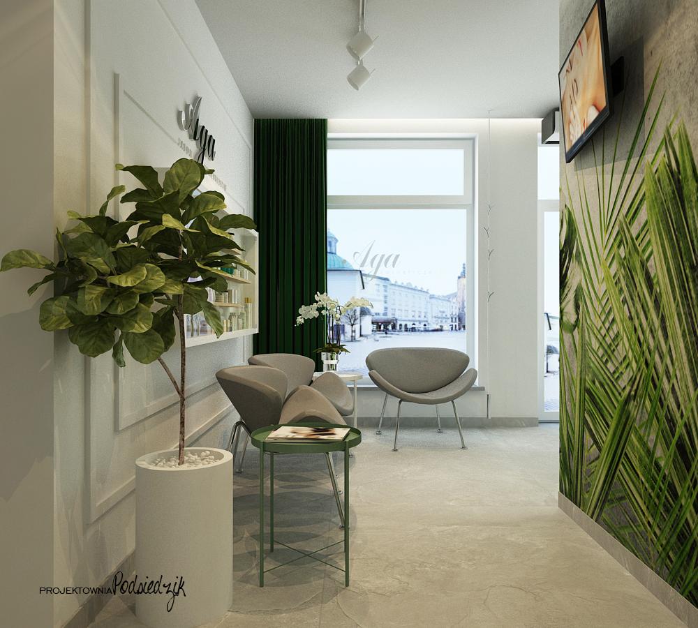 Projekt wnętrza recepcji i poczekalni salonu kosmetycznego Ujazd - projektowanie wnętrz publicznych, komercyjnych Kluczbork Opolskie