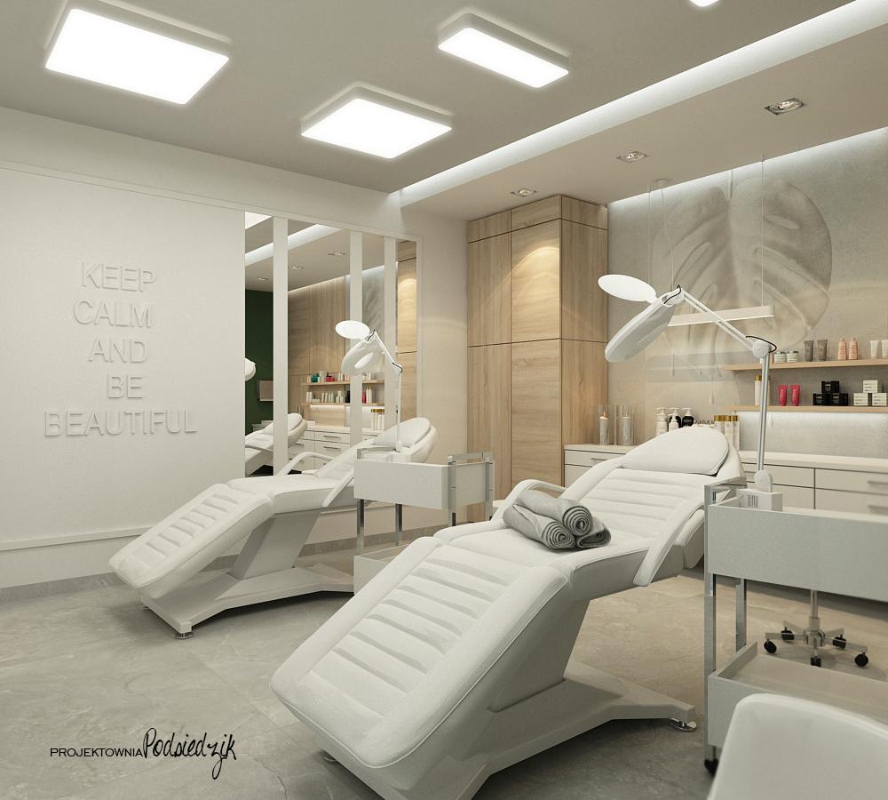 Projekt wnętrza gabinetu kosmetycznego Ujazd - projektowanie wnętrz punktów usługowych Kluczbork Opolskie