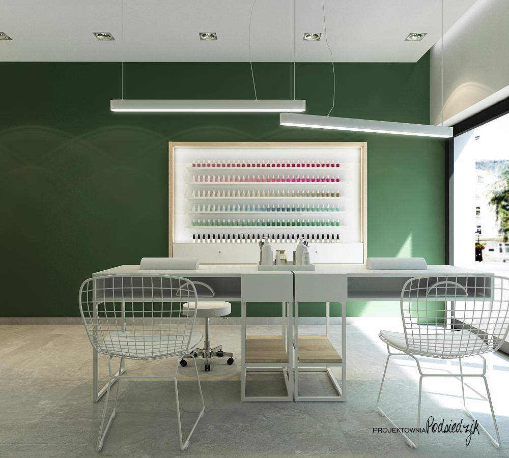Projekt wnętrza gabinetu manicure Ujazd - projektowanie wnętrz użyteczności publicznej Kluczbork Opolskie