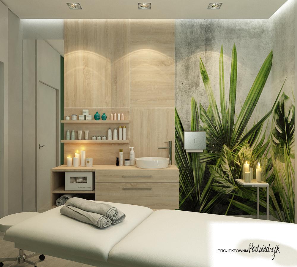 Projekt wnętrza gabinetu masażu Ujazd - projekty wnętrz lokali użytkowych Kluczbork Opolskie