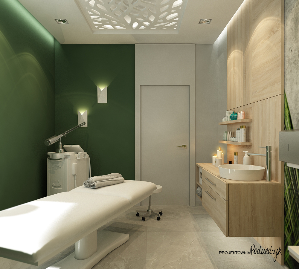 Projekt wnętrza gabinetu masażu Ujazd - projektowanie wnętrz punktów usługowych Kluczbork Opolskie
