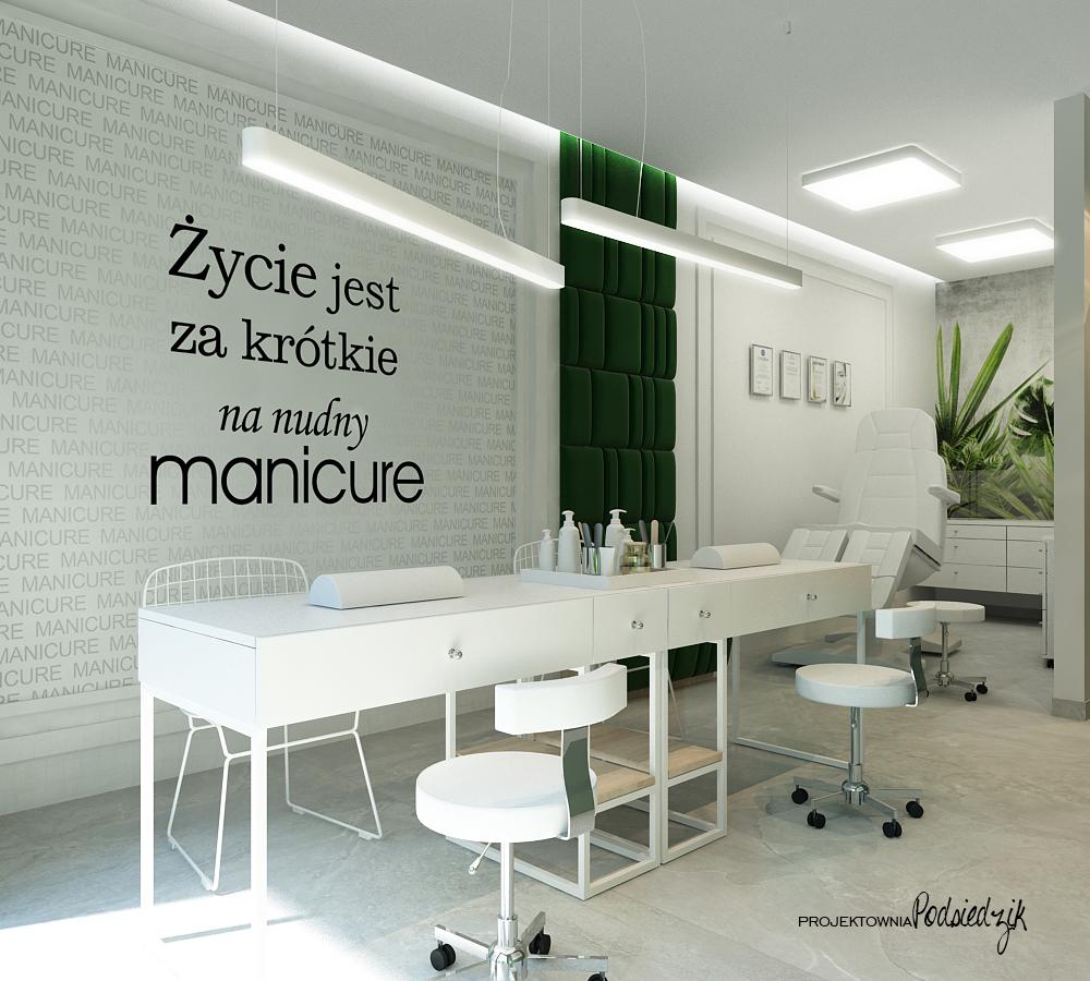 Projekt wnętrza gabinetu pedicure Ujazd - projektowanie wnętrz użyteczności publicznej Kluczbork Opolskie