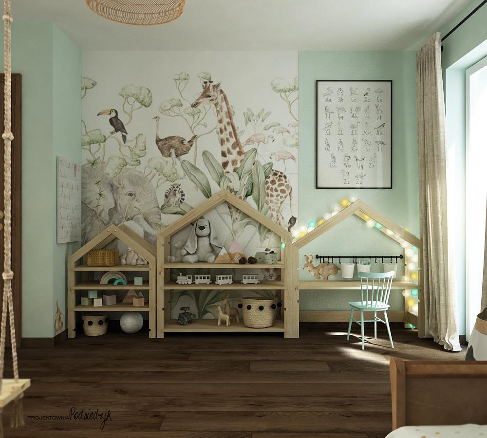 Projekt wnętrza pokoju montessori dla dziewczynki Olesno - projektowanie pokoi dla dzieci Kluczbork Opolskie