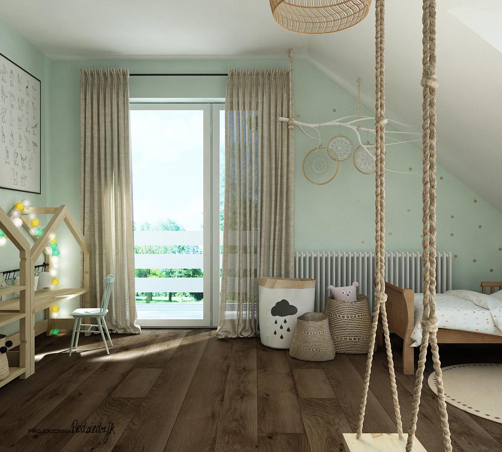 Projekt wnętrza pokoju w stylu boho dla dziewczynki Olesno - projektowanie pokoi dla dzieci Kluczbork Opolskie