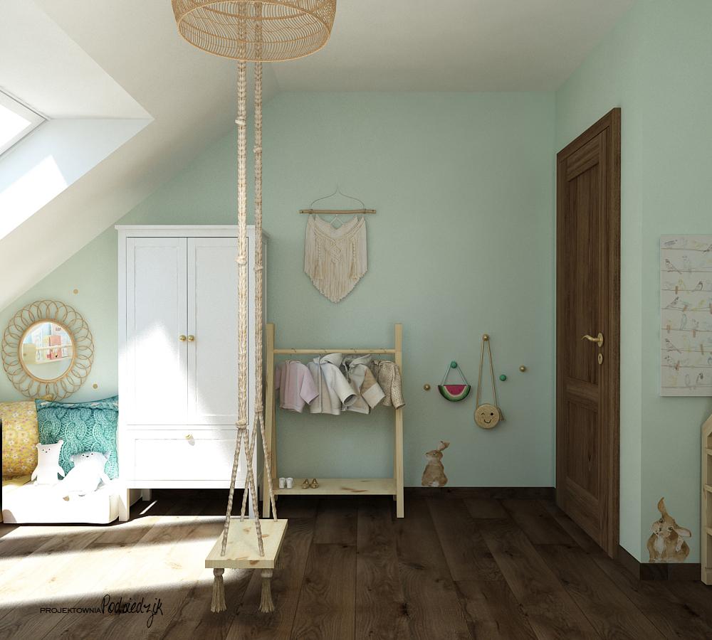 Projekt wnętrza pokoju w stylu vintage dla dziewczynki Olesno - projektowanie pokoi dla dzieci Kluczbork Opolskie