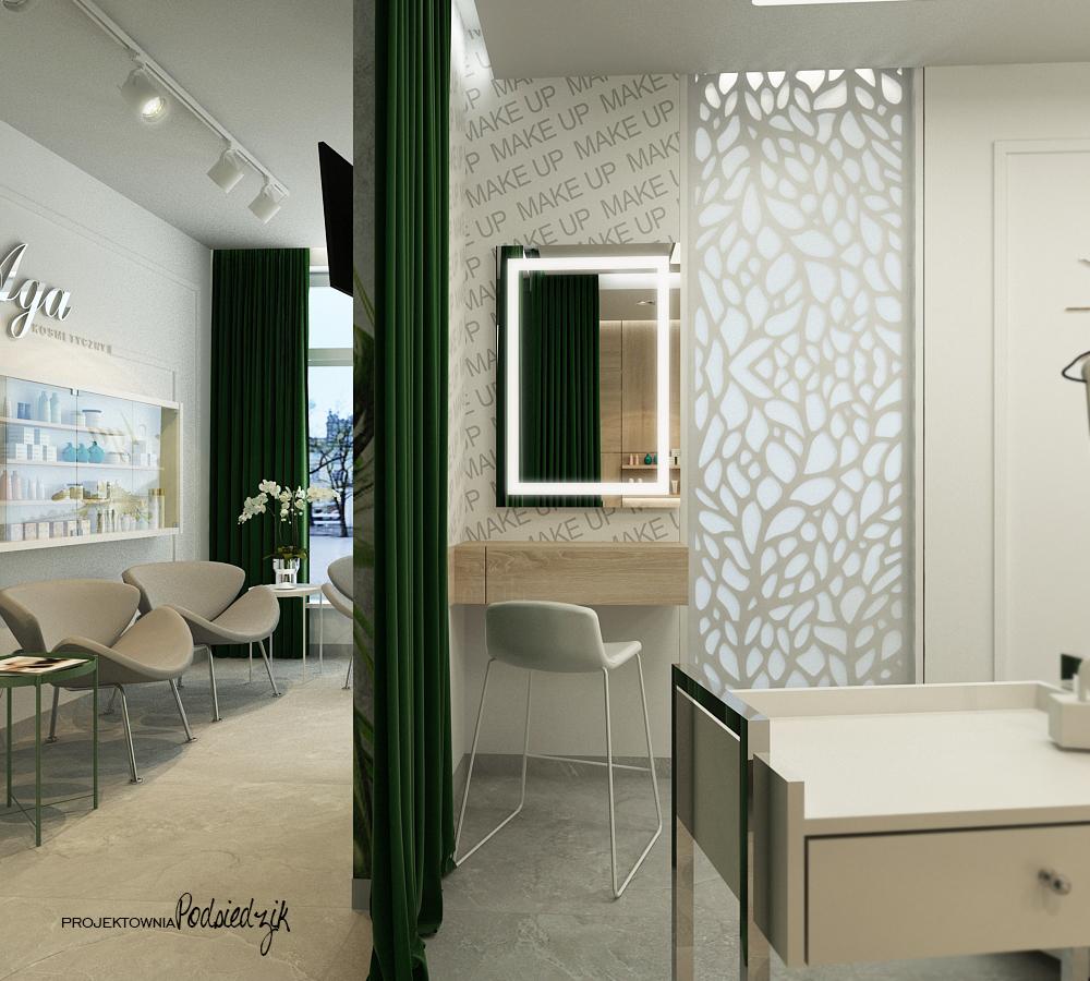 Projekt wnętrza salonu kosmetycznego Ujazd - projekty wnętrz lokali użytkowych Kluczbork Opolskie