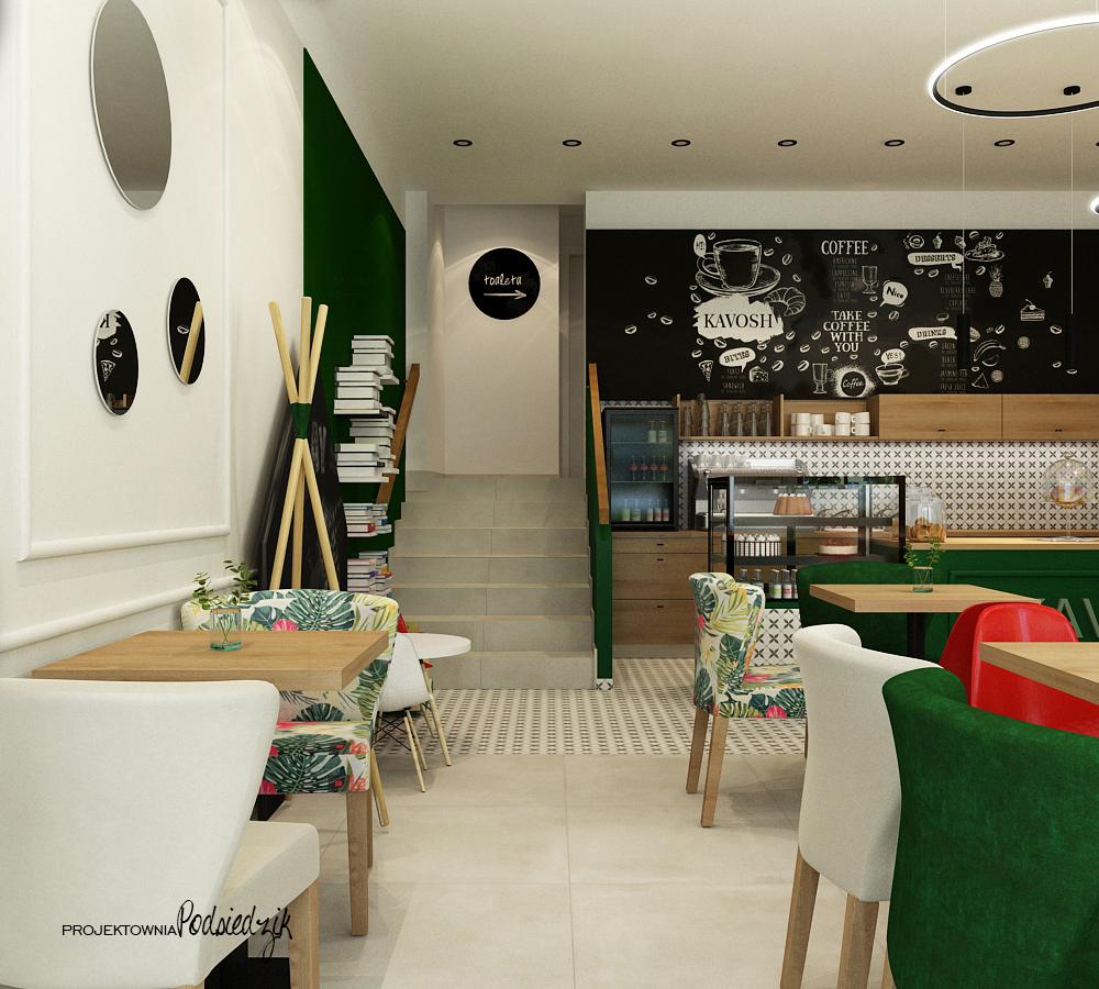 Projektowanie wnętrz komercyjnych, publicznych Byczyna Kluczbork Olesno Opolskie - projekt wnętrza kawiarni Byczyna