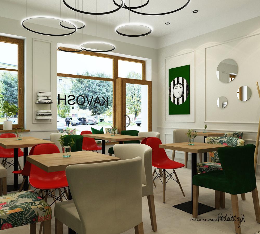 Projektowanie wnętrz punktów usługowych Byczyna Kluczbork Olesno Opolskie - projekt wnętrza kawiarni Byczyna