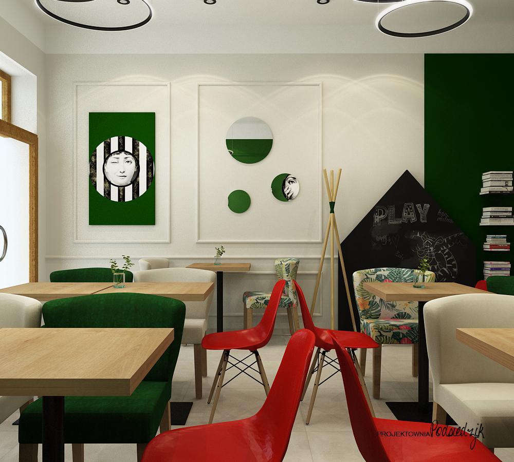 Projekty wnętrz lokali użytkowych Byczyna Kluczbork Olesno Opolskie - projekt wnętrza kawiarni Byczyna