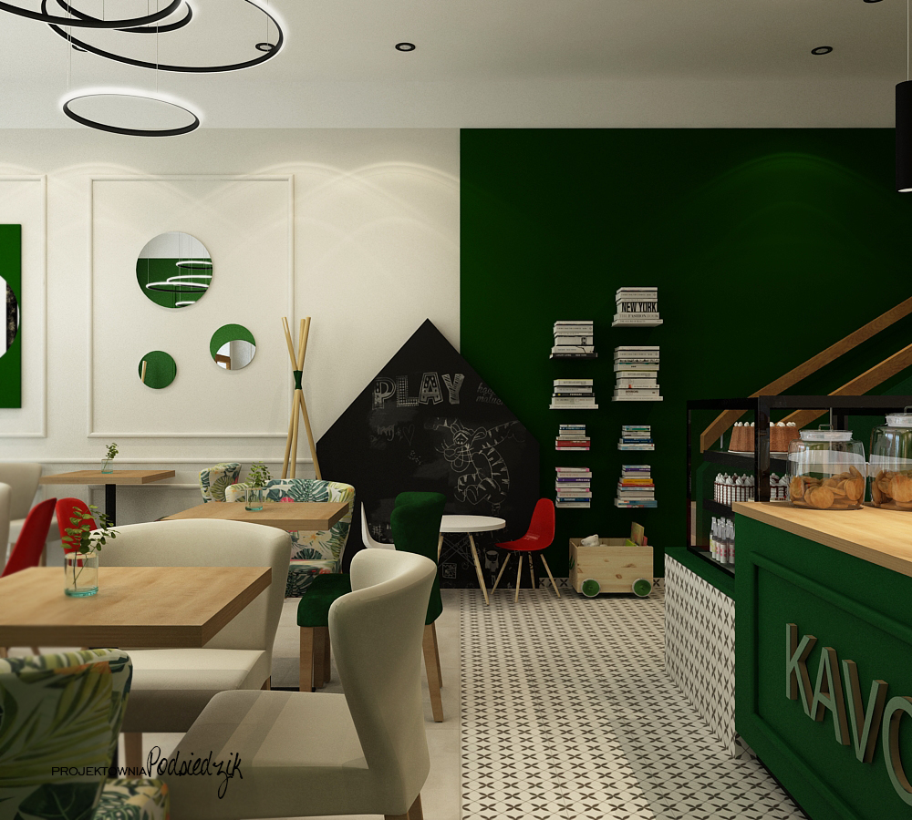 Projektowanie wnętrz użyteczności publicznej Byczyna Kluczbork Olesno Opolskie - projekt wnętrza kawiarni Byczyna