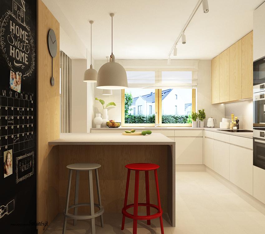 Projekt wnętrza domu kuchni z wyspą - projekty wnętrz Krzepice, Kluczbork