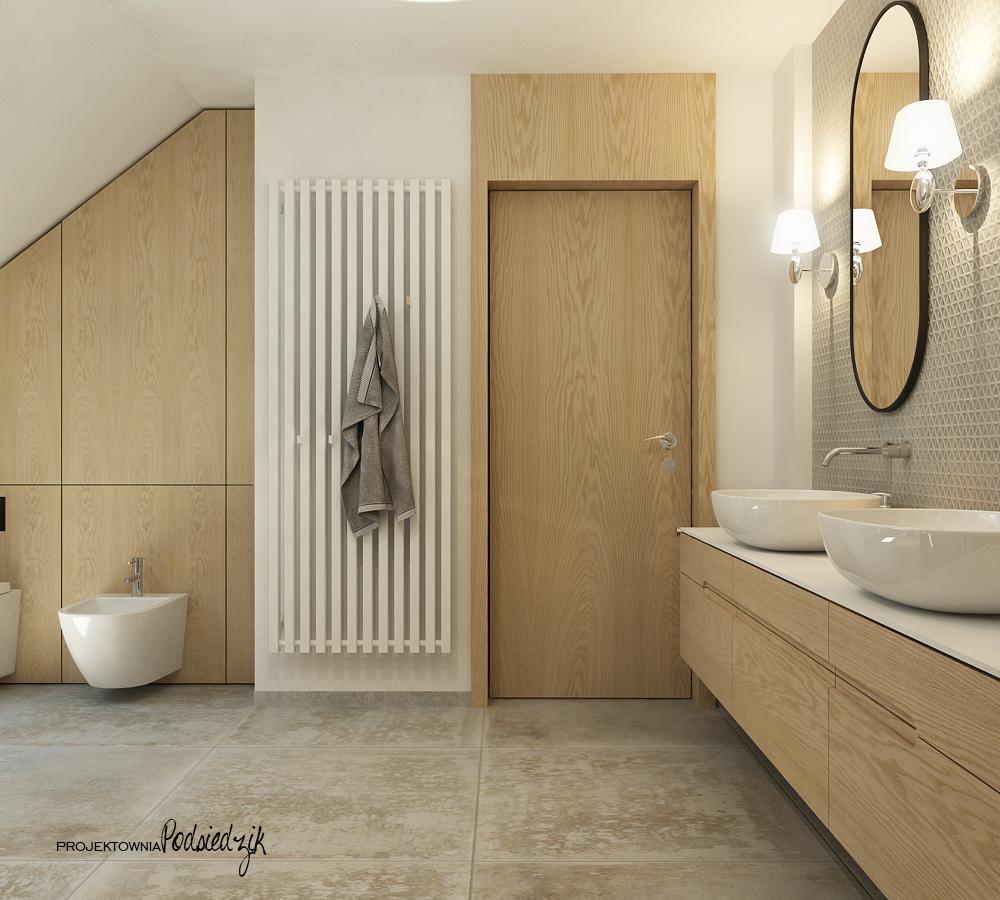 Projekt wnętrza domu łazienki na poddaszu - projekty wnętrz łazienek Krzepice, Kluczbork