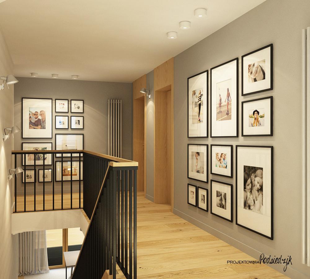 Projekt wnętrza domu przedpokoju na piętrze - projektowanie wnętrz przedpokoi Krzepice, Kluczbork