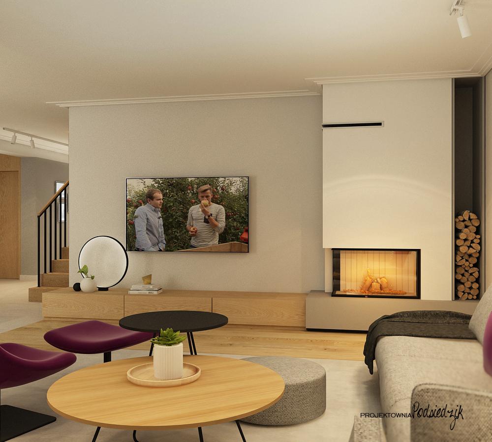 Projekt wnętrza domu salonu z kominkiem - projektowanie wnętrz Krzepice, Kluczbork