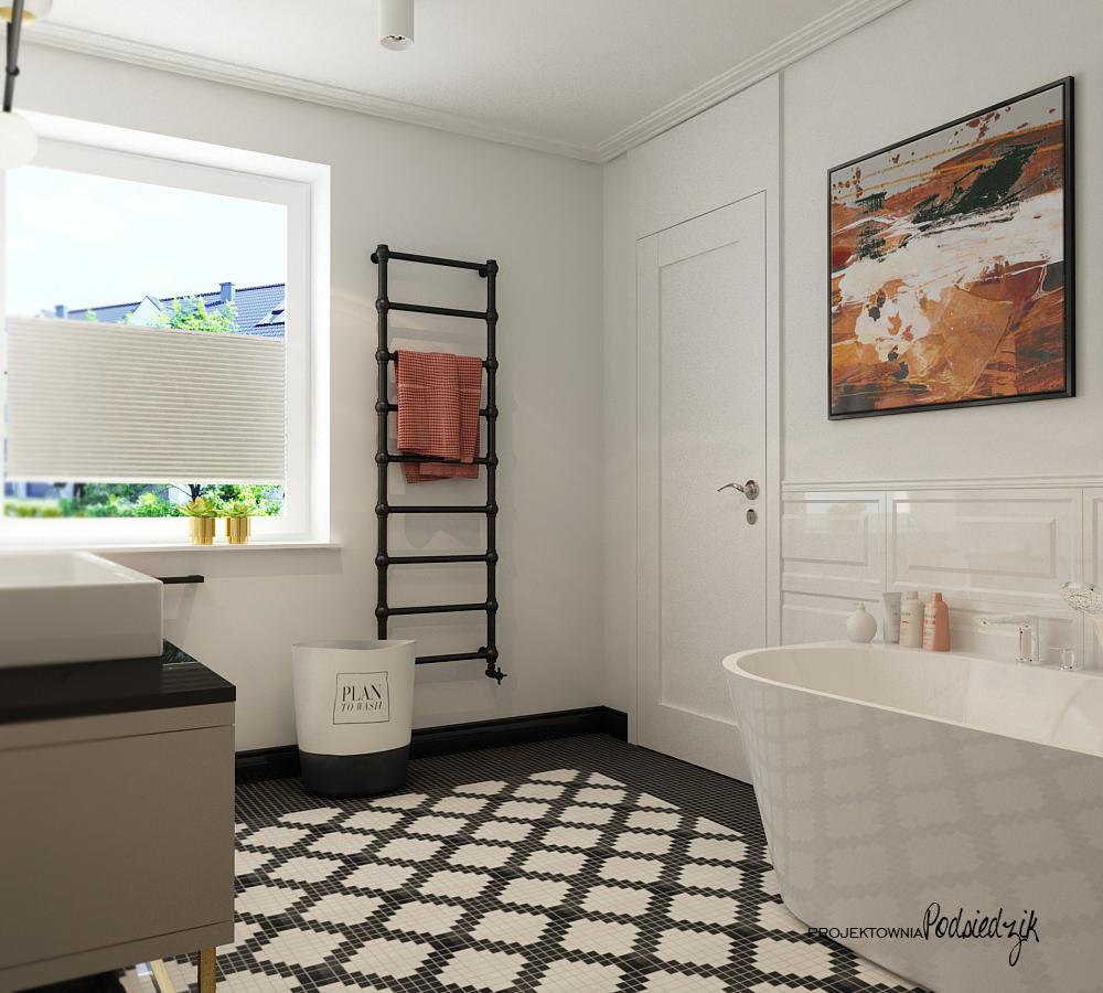 Projektant wnętrz Kluczbork Olesno Opolskie - projekt wnętrza łazienki z wanną wolnostojacą