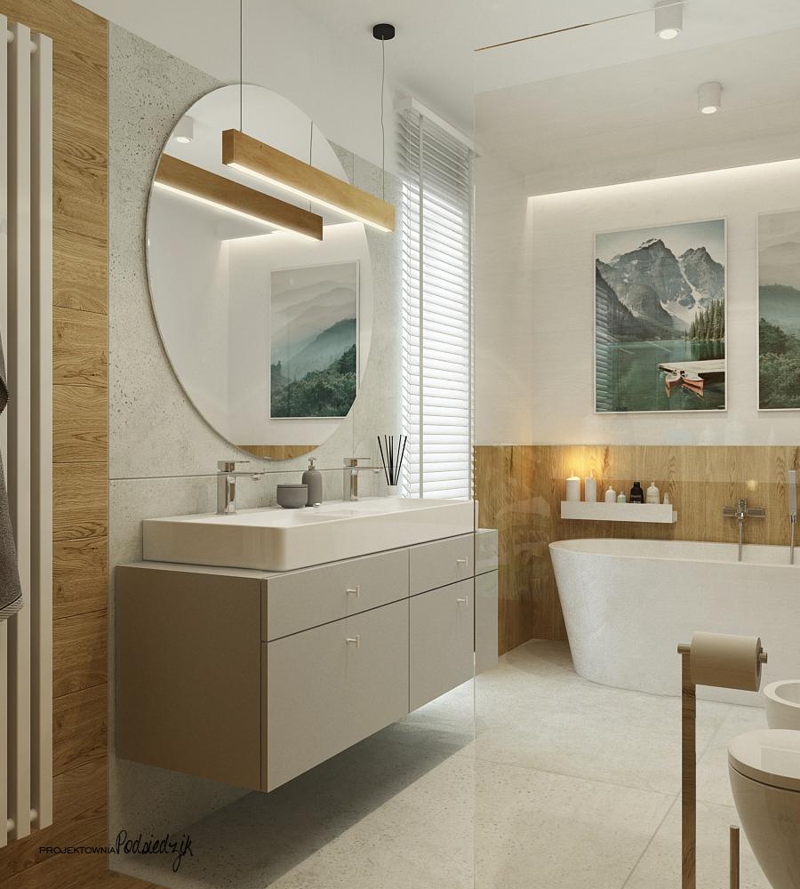 Projektownia Podsiedzik aranżacja wnętrz łazienka z wanną wolnostojacą Olesno