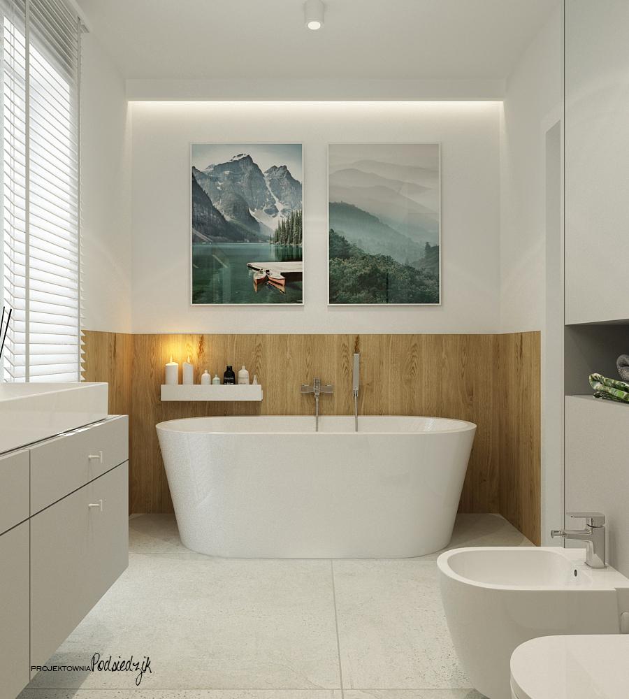 Projektownia Podsiedzik projektowanie wnętrz łazienka z wanną wolnostojacą Olesno