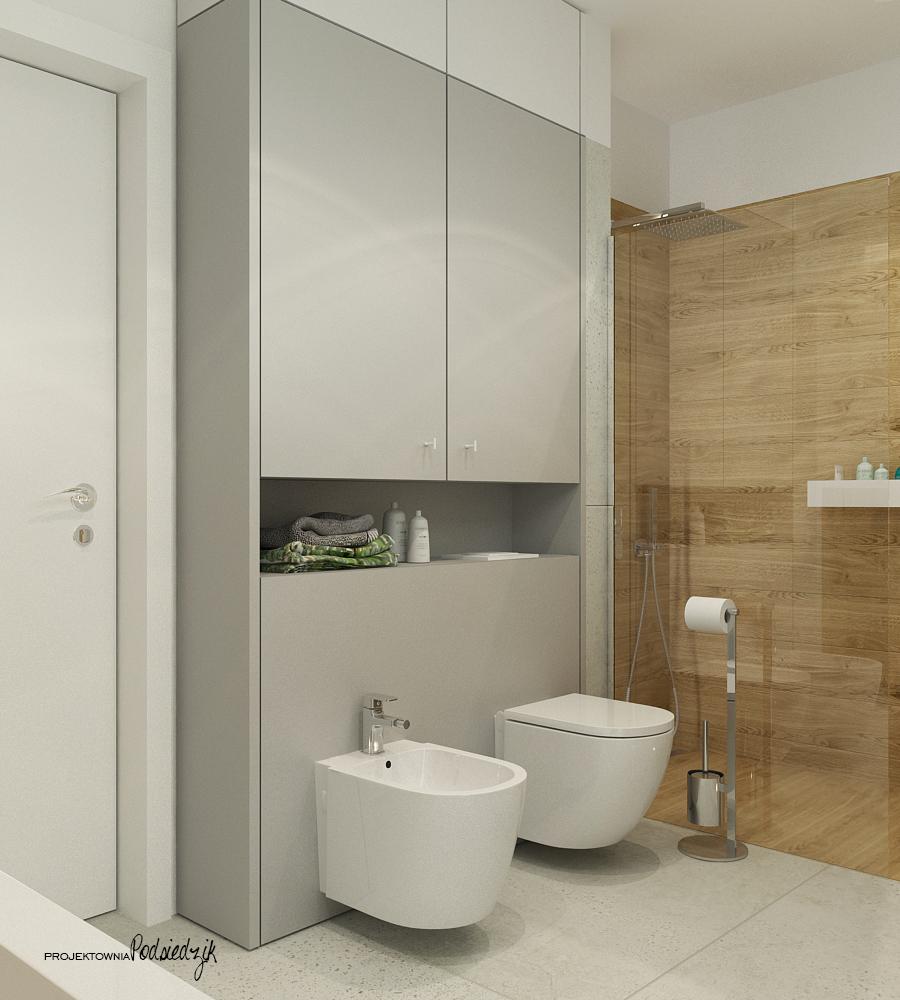Projektownia Podsiedzik projekty wnętrz łazienka z wanną wolnostojacą Olesno
