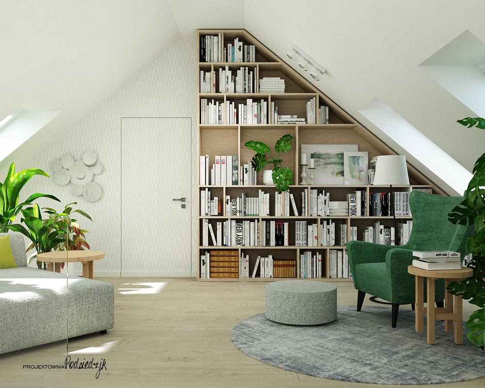Projektownia Podsiedzik aranżowanie wnętrz poddasze biblioteczka Olesno