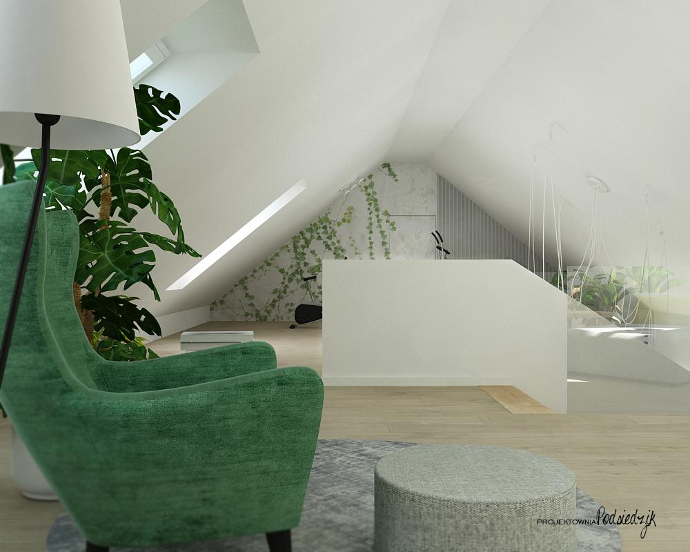 Projektownia Podsiedzik projektowanie wnętrz poddasze biblioteczka Olesno