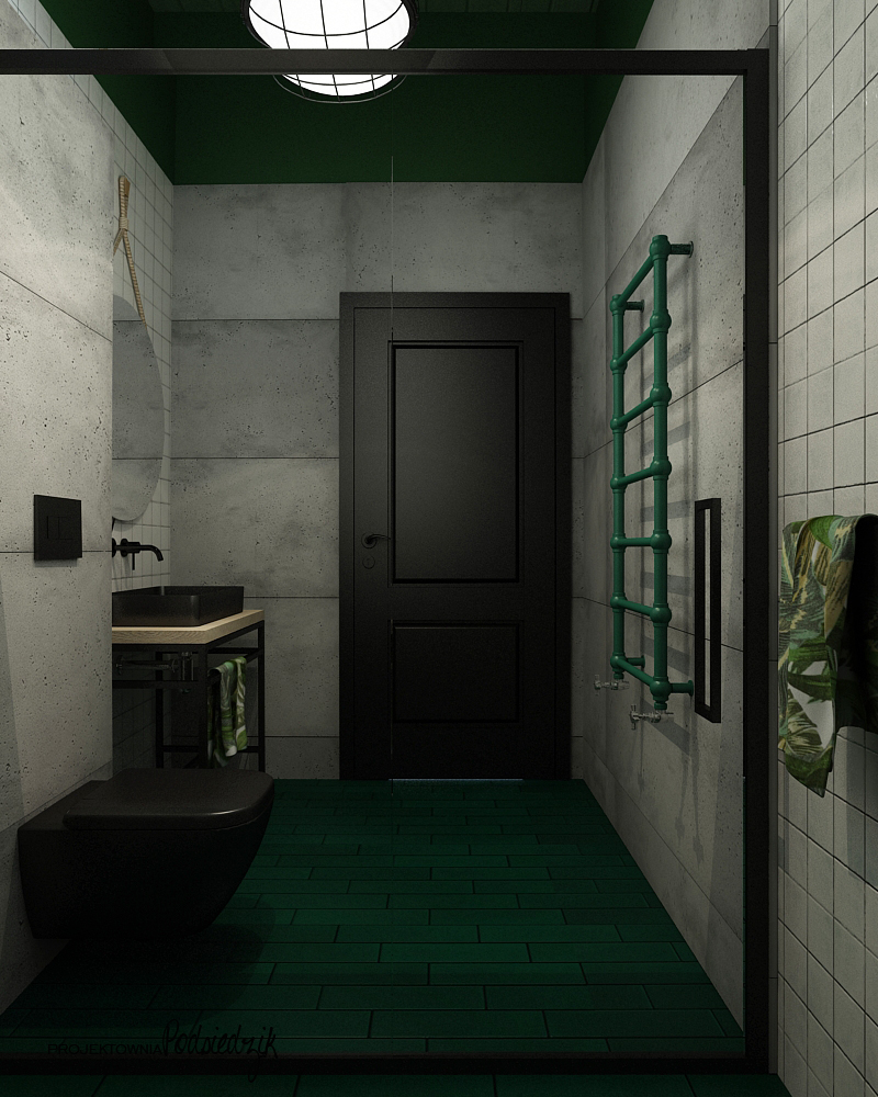 Aranżacja łazienki w garażu Olesno - aranżowanie wnętrz Olesno Kluczbork Opolskie