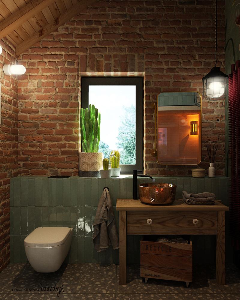 Aranżacja wnętrza toalety w garażu Olesno - Aranżacja wnętrz Kluczbork Olesno Opolskie
