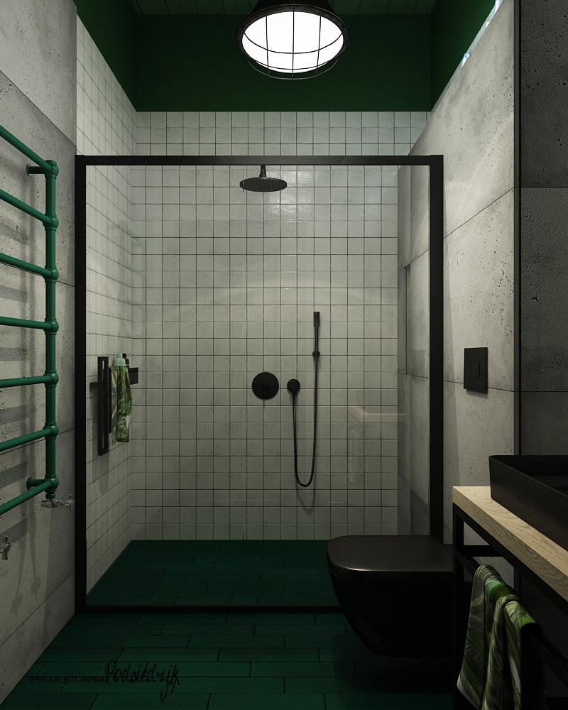 Projekt łazienki w garażu Olesno - projektowanie wnętrz Olesno Kluczbork Opolskie
