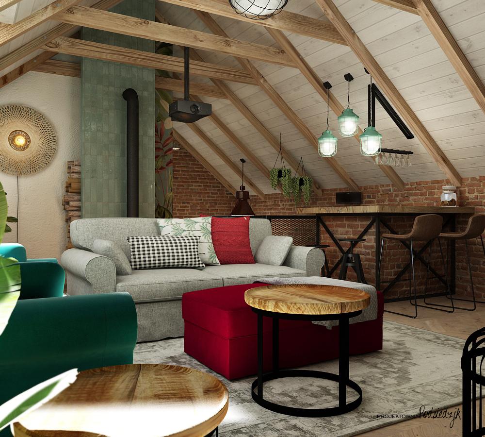 Projektowanie wnętrz Kluczbork Olesno Opolskie - Projekt wnętrza garażu z poddaszem Olesno